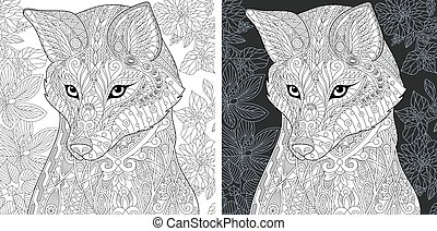 Coloring pages with fox