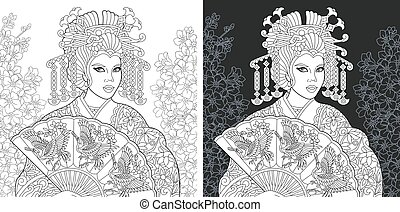Coloring pages with Japanese geisha