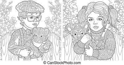 Coloring pages with kids, baby tiger, koala bear