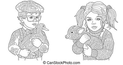 Coloring pages with kids holding duck and pig