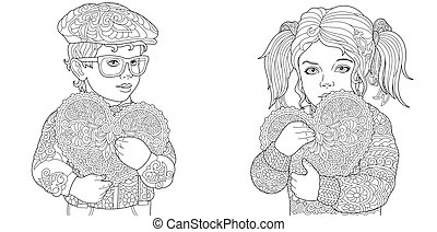 Coloring pages with kids holding valentine hearts