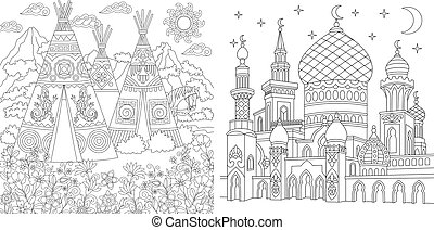 Zentangle coloring pages for adult colouring book. Native North American wigwam village. Turkish mosque with crescent moons.