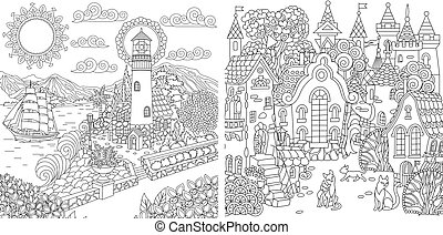 Coloring pages with light house and fantasy town