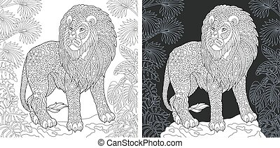 Coloring pages with lion