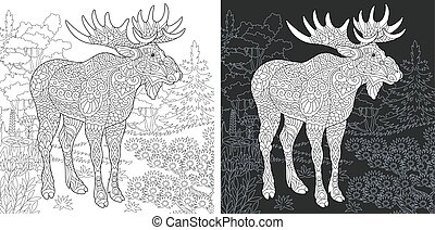 Coloring pages with moose
