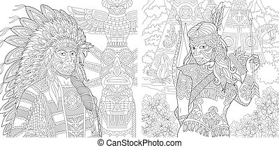 Coloring pages with Native American people
