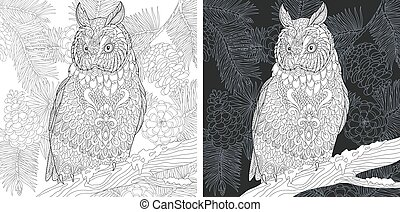 Coloring pages with owl