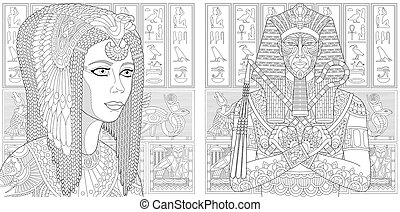 Coloring pages with pharaoh and Cleopatra queen