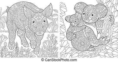Coloring pages with pig and koalas