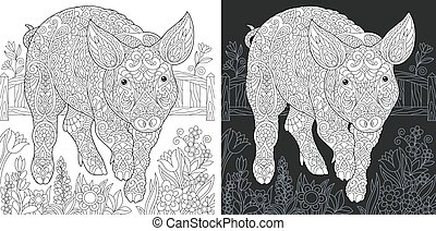 Coloring pages with pig