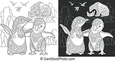 Coloring pages with polar animals