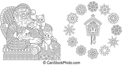 Coloring pages with Santa Claus, cats, clock