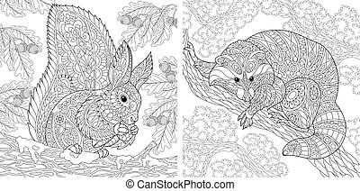 Coloring pages with squirrel and raccoon