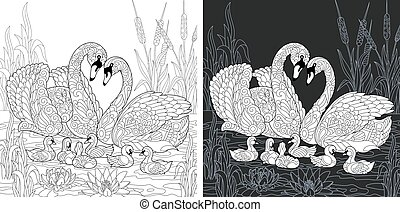 Coloring pages with swan family - Swan family drawn in black...
