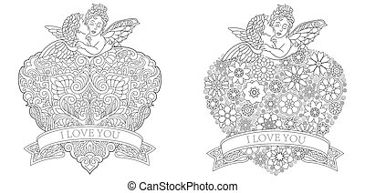 Coloring pages with valentine hearts and angels
