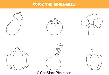 Coloring pages with vegetables for preschool kids.