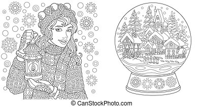 Coloring pages with winter girl and magic crystal snow ball