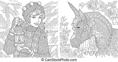 Coloring pages with winter girl and unicorn