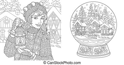 crystal ball coloring pages | Tangled christmas lights Illustrations and Stock Art. 102 ...