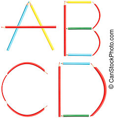 Coloring Pencils Alphabet Letters