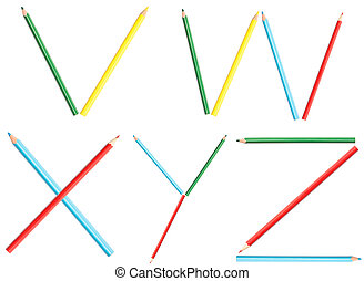 Coloring Pencils Alphabet Letters