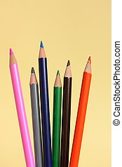 Coloring Pencils On Yellow Background