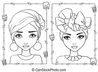 Coloring Portrait Of Girls In African Style Hats