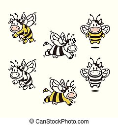 coloring, sæt, ko, karakter, bundt, bi, vektor, avatar, download, logo, cartoon, bog, mascot