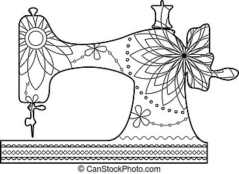 Coloring sewing machine - Vector coloring sewing machine