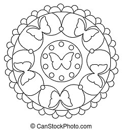 Coloring Simple Butterfly Mandala