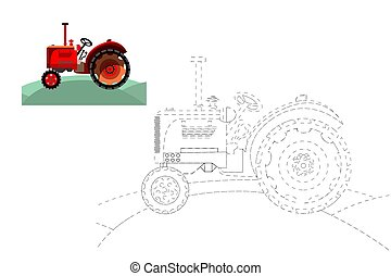 Coloring. Simple educational game for children. Vector illustration of a tractor.