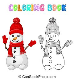 Coloring snowman with red hat, scarf and glove isolated on white