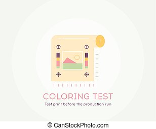 Coloring test icon - Thin line flat design of Test print before the production run Flat modern color icons