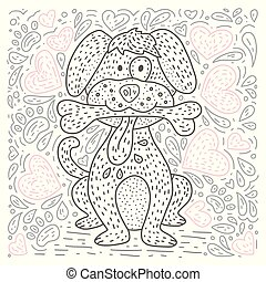 Coloring vector page with cartoon doodle animal.