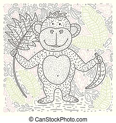 Coloring vector page with cartoon doodle animal. Outline playful card with a monkey.