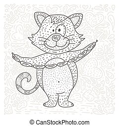 Coloring vector page with happy cat.