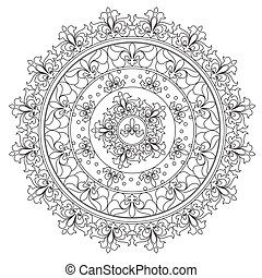 Vector outline vintage abstraction mandala for coloring. Decoration round ornament