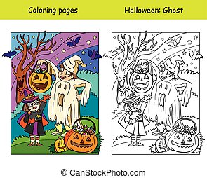Vector coloring pages with colored example children in costumes of ghost and witch. Cartoon Halloween illustration. Coloring book for children, preschool education, print and game.