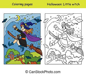 Coloring with colored example Halloween witch on broom - ...