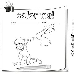 Coloring worksheet with a boy