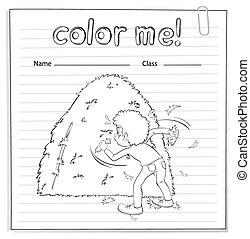 Coloring worksheet with a boy looking at the haystack