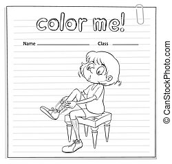 Coloring worksheet with a girl