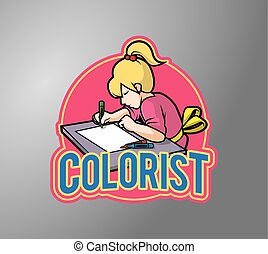 Colorist girl illustration