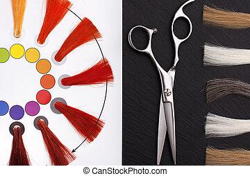 coloristic, circle., cabeleireiras, acessórios
