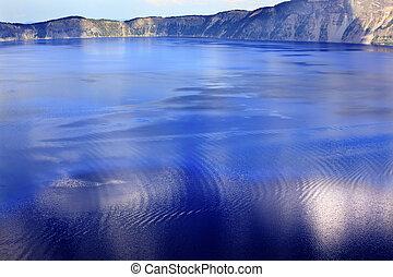 colorito, acque, blu, lago cratere, riflessione, oregon