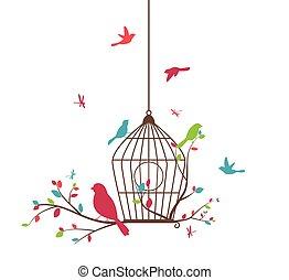 colorito, albero, con, uccelli, e, birdcages
