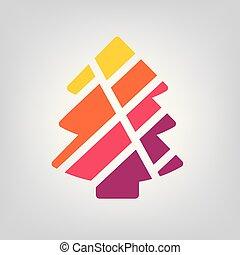 colorito, albero, illustrazione, vettore, icon-, geometrico, natale