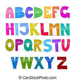 colorito, alfabeto, fondo, isolato, set, divertente, bianco