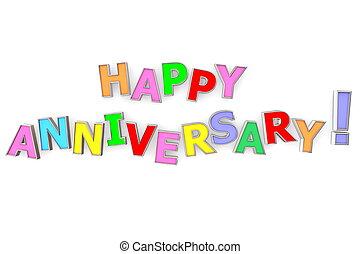 colorito, anniversario, felice