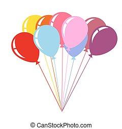 colorito, aria, palloni, isolato, bianco, fondo
